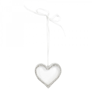 PÅ SALG! Clear Glass Heart with Diamante Edge Decoration