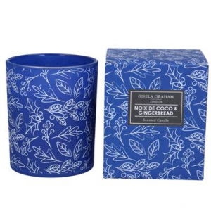 Holly Print Noix de Coco & Gingerbread scented Boxed Candle Large – Gisela Graham