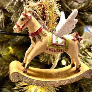 PÅ SALG! Rocking Horse with Wings. Christmas Decoration, gold/white – Gisela Graham