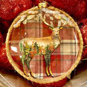PÅ SALG! Stag Tree Decoration, tartan – Gisela Graham