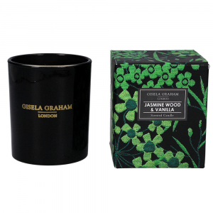 Emerald Flowers Print Jasmine Wood & Vanilla Boxed Candle – Gisela Graham