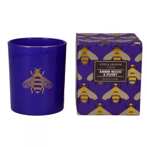 Purple Bees Print, Amber Wood & Honey Scented Boxed Candle – Gisela Graham