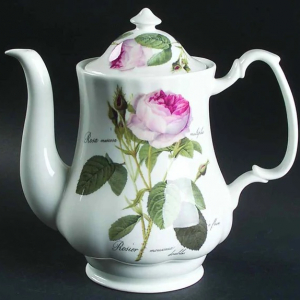 Fine Bone Coffee Pot & Lid Redoute Roses by Roy Kirkham, England