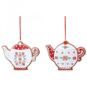 PÅ SALG! Red & White Gingerbread TeaPot 8cm – Gisela Graham