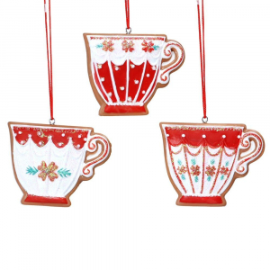 PÅ SALG! Red & White Gingerbread Teacup 6cm – Gisela Graham