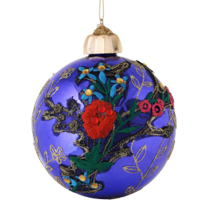 Gisela Graham – Giant Purple Gold Glitter Applique Bauble 12cm