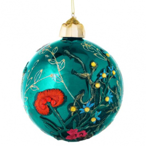 Gisela Graham – Giant Turquoise Gold Glitter Applique Bauble 12cm