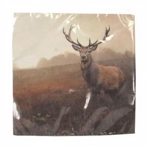 PÅ SALG!Highland Stag napkins 20pk – Gisela Graham