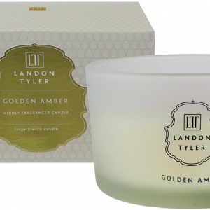 Golden Amber 3 wick Frankincense & Rose fragranced candle – Landon Tyler, England