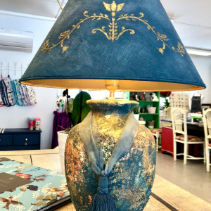 Unique gold leaf blue painted Lamp – by English Rose Design