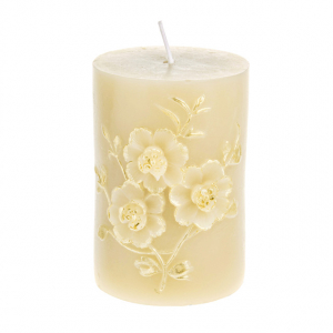 Cream and Gold Embossed Pillar Candle Cream 10cm