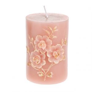 Pink Rose Gold Embossed Pillar Candle 10cm