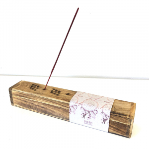 Wood 'Dream Catcher' incense burner box 30x6x6cm (with free incense inside)