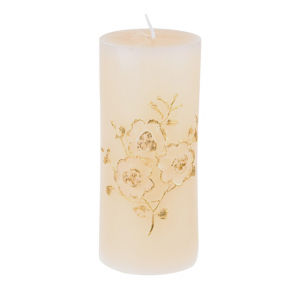 Large Cream and Gold Embossed Pillar Candle Cream 15cm