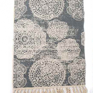 Floor Rug with Tassel Edge and Print (blue)- 90x60cm